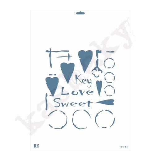"Stencil DIN A3 ""Llave dulce Amor"" - ST-3011-A3"