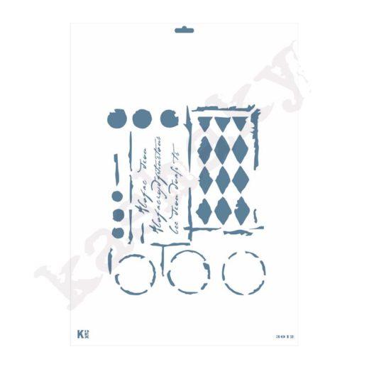 "Stencil DIN A3 ""Vintage rombos"" - ST-3012-A3"