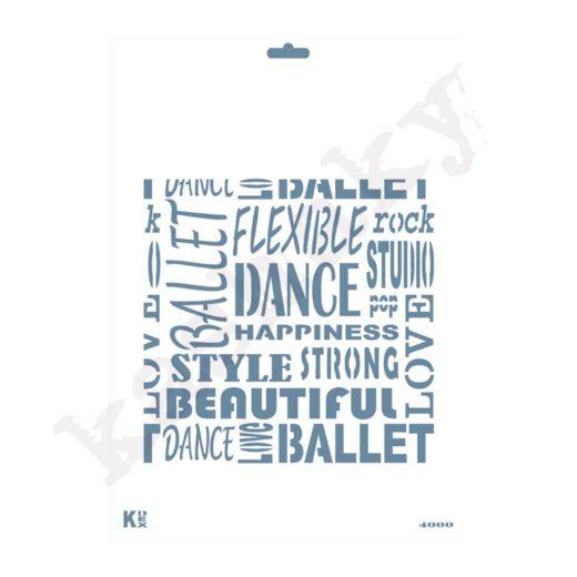"Stencil DIN A4 Fondo Palabras ""Dance"" - ST-4000-A4"