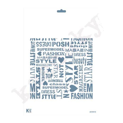 "Stencil DIN A4 Fondo Palabras ""Fashion"" - ST-4001-A4"