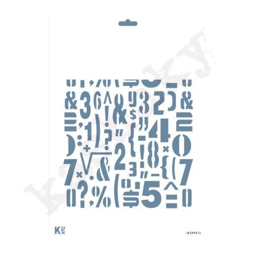 """Stencil DIN A4 Fondo """"Números / Simbolos"""" - ST-4005-A4"""