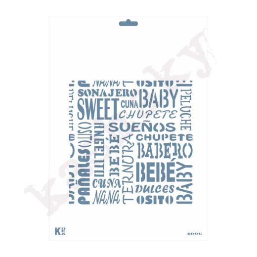 """Stencil DIN A4 Fondo Palabras """"Bebé"""" - ST-4006-A4"""