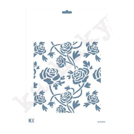 "Stencil DIN A4  Fondo ""Rosas"" - ST-4200-A4"