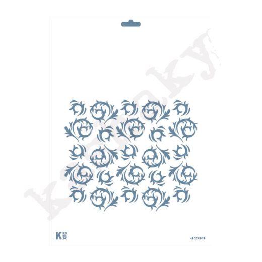 "Stencil DIN A4  Fondo ""Hojas / Espirales"" - ST-4209-A4"
