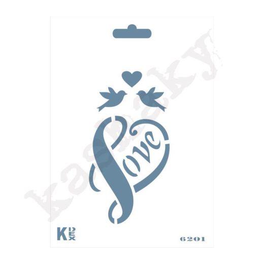 "Stencil DIN A6 ""Corazón / Love"" - ST-6201-A6"